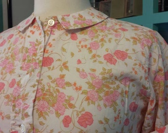 Lady Manhattan Country Cousins Sz 10 50s Buttondown shirt Small Floral