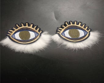A Pair of Multicolored Embroidered Eyes Applique Patch,Fur Eyes Patches for  Coat or Jeans