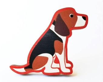 Beagle Wooden Brooch Pin