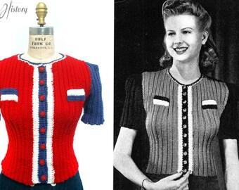 1940s Patriotic Tri-Color Blouse Knitting E-pattern- PDF Knitting Pattern Download