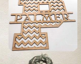 Chevron monogram/ custom cutout/ LARGE