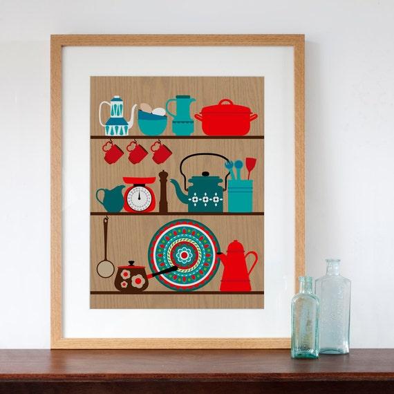 Retro Kitchen Artwork: Retro Kitchen Shelves Art Print