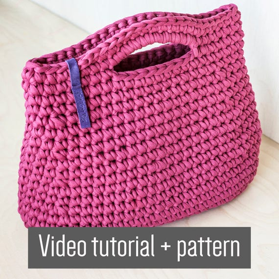 Crochet Chunky Yarn Handbag Video Tutorial and Pattern/ Crochet ...