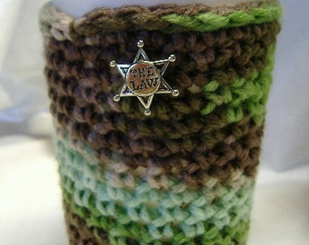 Large Coffee Cup Cozy, Fits Starbucks/Venti Cup,  Hot/Cold Cup Cover/Sleeve/Cozies, Multi Colors, THE LAW Button, Mug Cover, USA