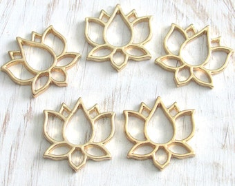 Lotus charms, gold lotus, flower connectors, lotus pendant, lotus flower, flower charm, us seller, hollow lotus, set of 5, yoga charm