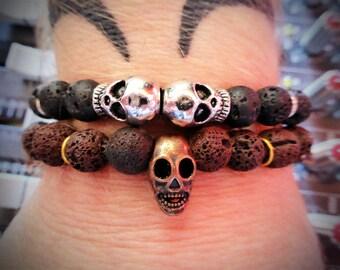 Black Lava Beads w/ Tibetan Silver Skulls BRACELET