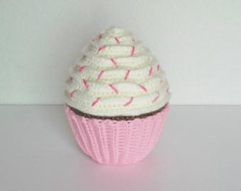 "6"" Large Amigurumi Crochet Chocolate Cupcake / Stuffed Crochet Chocolate Cupcake / Plush Amigurumi Crochet Cupcake"