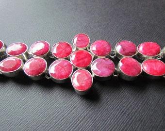 FLASH SALE 50% OFF Ruby Bracelet - Genuine Red Ruby Jewelry - Flower Bracelet - Faceted Red Gemstone Bracelet -
