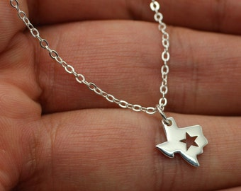 TEXAS STATE CHARM Necklace- 925 Sterling Silver Texas State Jewelry Tx Lone Star