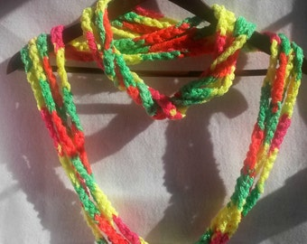 Scarf, Necklace Scarf, Chain Scarf, Infinity Scarf, Neon Colors, Ready to Ship, Crochet Scarf,  Scarf, Fashion Scarf, Circle Scarf, Rave