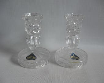 Crystal Works Candle Holders, Full Lead Crystal from West Germany, Set of TWO