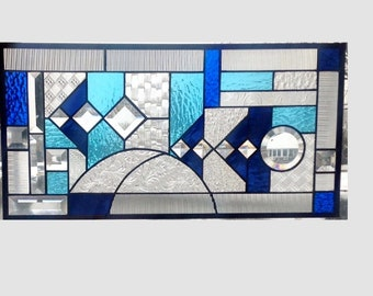 Stained glass panel window geometric blue aqua abstract stained glass window panel window hanging transom 0343 22 1/2 x 11 1/2