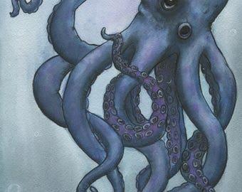 Octopus In Blue