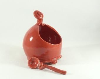 Red french salt pig w/ spoon - Salt holder - Ceramic Salt Cellar, Salt Dish, Sugar Bowl, Bath Salts Holder, Whimsical Colorado Pottery
