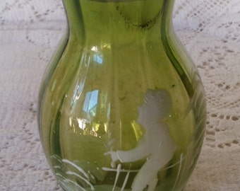 Green glass vase with Mary Gregory style painted picture