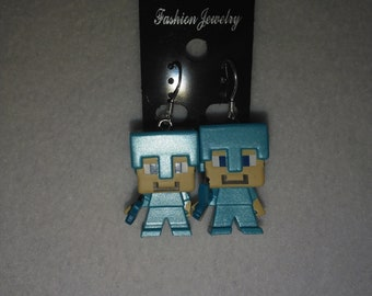 Minecraft - Steve Diamond Armor Mini Figure & Sterling Silver Shepherds Hooks with Loop earrings - 16mm