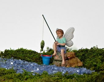 Fairy Garden Accessories Fishing Boy Fairy Figurine  - miniature accessory  - terrarium supply - fairy accessories - gone fishing mini pail