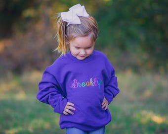 Custom Youth Sweatshirt, Personalized Youth Sweatshirt, Applique Sweatshirt, Toddler Personalized Sweatshirt, Custom Monogram Sweatshirt