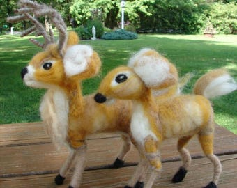 Needle Felted Deer, Needle Felted Wool Deer, Felted Deer, Wool Deer, Wool Sculptured Deer, Buck, Doe, Deer, Soft Sculpture