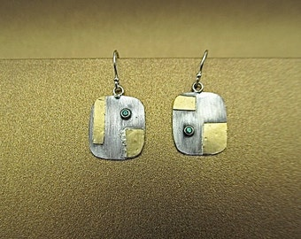 Silver and 24K gold emerald earrings