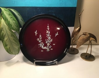 Vintage Asian Round Lacquer Ware Tray with Birds and Floral Mother of Pearl Inlay
