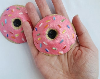 Donut Pasties With Pink Frosting and Sprinkles / Novelty Food Pasties For Burlesque Costume