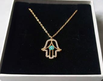 SALE HALF PRICE  24ct Gold Hamsa Necklace Hand Of Fatima Necklace Evil Eye Necklace Womens Gift Delicate Necklace Gift for Women