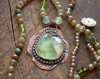 Artisan boho necklace sea glass jewelry - Castaway - knotted necklace, sea glass pendant necklace, mermaid scales, beaded pendant necklace