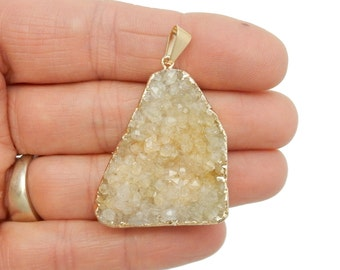 Crystal Quartz Druzy Pendant with Electroplated 24k Gold Edges and Bail - Amazing Sparkle (G-064)