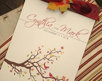 Autumn Love Birds Fall Tree Branch Leaves Leaves Booklet Wedding Ceremony Program Order Service Bridal Party Nest Brown Red Orange - Sample