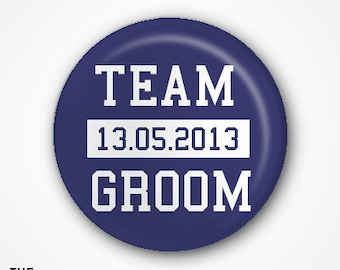 Team Groom Badges or Magnets (pack of 8) Available as 2.5cm badges or 3.8cm badges or Magnets