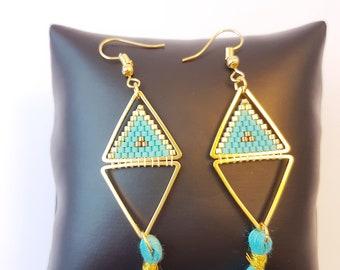 Ethnic earrings, Bohemian, earring tassel, blue tassel, ethnic earrings, boho chic, summer earrings, boho earrings