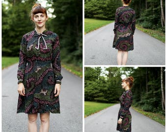 1970s Batik Cotton Dress