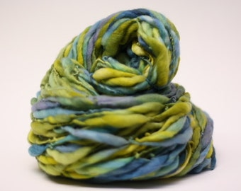 Handspun Thick Thin Merino Wool Yarn tts (tm) Hand Dyed Yarn LR 31c