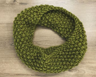 Olive chunky knit cowl