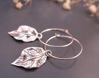 Small silver hoop earrings, Sterling Silver leaf earrings, delicate silver earrings