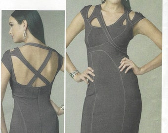 Womens Sexy Knit Dress with Detailed Straps & Seams Summer Dress Open Back OOP Vogue Sewing Pattern V8705 Size 12 14 16 18 Bust 34 to 40 FF