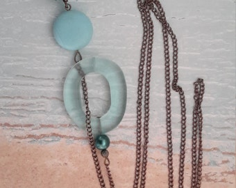 Summer Breeze - Blue Sea Glass Lariat Necklace