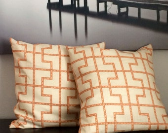 Orange Patterned Linen Throw Pillow