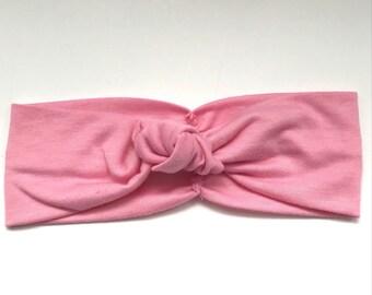 Headband in Pink- Workout Headband-Yoga Headband-Beach Headband - Toddler Headband - Topknot Infant Topknot Bow Knot Headband