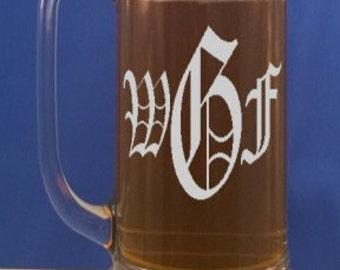 Personalized Beer Mug-Engraved Beer Mug-Free Engraving-Groomsmen Gifts-Wedding Party Gift-Beer Stein-Pint Glasses-16 OZ Glass Beer Mug