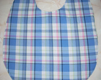 Blue Plaid print Adult Size Bib / Clothing Protector - Reversible