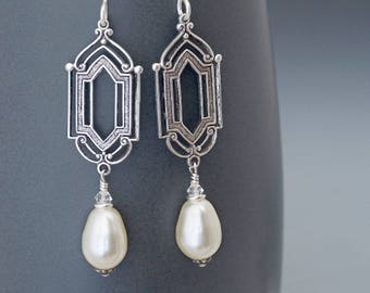 Cream Art Deco Earrings, Cream Pearl Earrings, Cream Earrings, Pearl Art Deco Jewelry, Pearl Dangle Earrings, Silver Drop Earrings, Hala