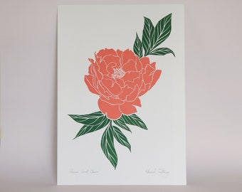 Peony 'Coral Charm' A3 Linocut Print