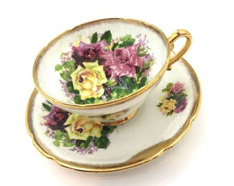 Stanley Pink and Yellow Rose Bouquet Tea Cup- Vintage English Tea Cup- Tea Party - Tea Cup Collector - Gifts for Her