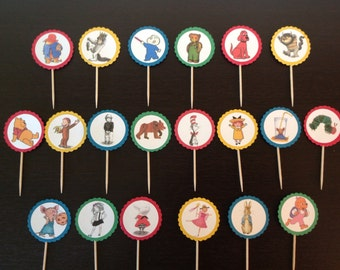 Storybook character cupcake picks, cupcake toppers, set of 20