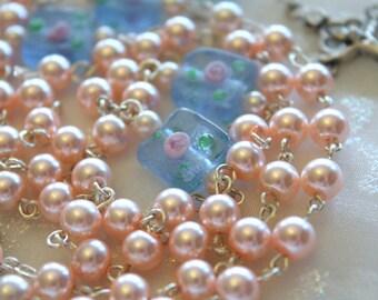 Pink Pearl Rosebud Rosary