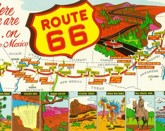 Usa United States Route 66 Map 25 X 16 Inches Metal Sign