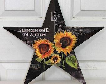 Metal Barn Star - Black or Cream Sunflower Star - Fall Porch - Sunflower Decor - Star Wreaths - Fall Home Decor - Farmhouse - Texas Star