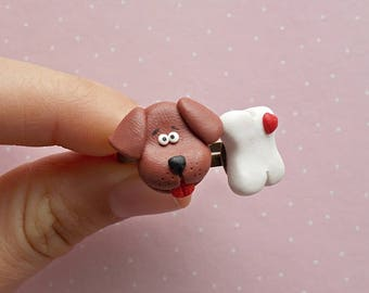 Dog Ring - Friendship Rings - Puppy Ring - Dog and Bone Ring - Dog Jewelry - Brown Dog Gift - Dog Lover Gift -